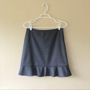 Tahari Grey Wool Blend Ruffle Hem A-Line Skirt 4